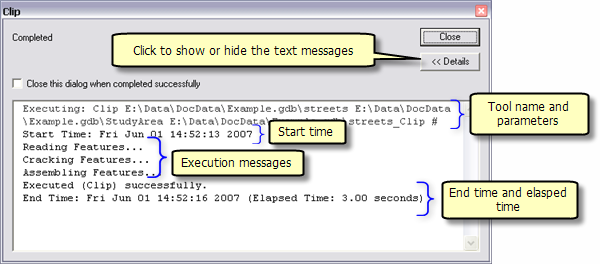 Normal execution message
