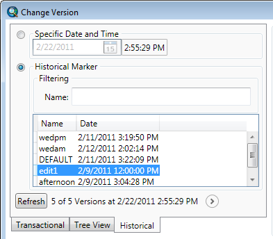 Historical tab of the Change Version dialog box