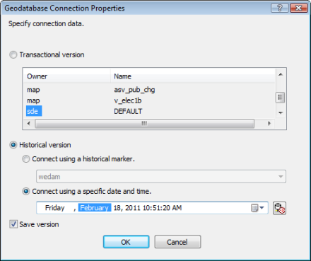 Change to a historical version on the Geodatabase Connection Properties dialog box