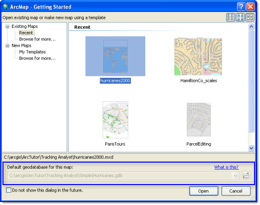 Setting the default geodatabase on the Getting Started dialog box