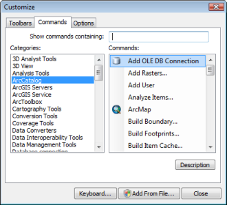 Choose Add OLE DB Connection command