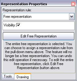 The Representation Properties window when more than one sub-element of a free representation is selected.