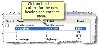 Entering the label name of a new heading