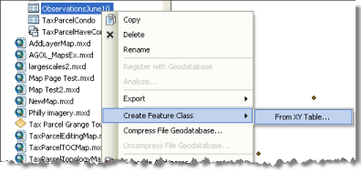 Creating a feature class from x,y data in the Catalog window