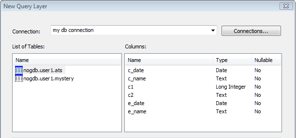 Tables and columns listed for a database connection