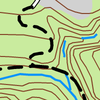 Trails, roads, and rivers drawn with conventional symbology