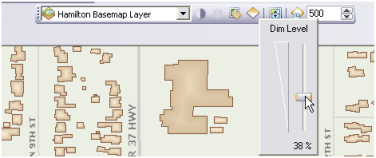 Basemap layers can be dimmed using the Dim Level slider control