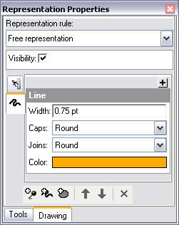 The Representation Properties window now shows the rule of the selected segment.