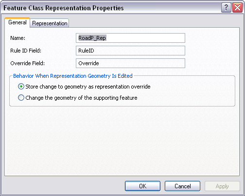 The Feature Class Representation Properties dialog box.