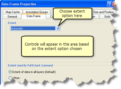 Setting the extent on the Data Frame tab of the Data Frame Properties dialog box