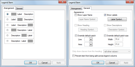 Legend Item dialog box Arrangement and General tabs