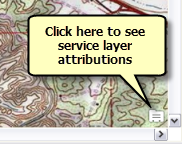 View data source attribution information for service layers in the map