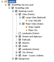 A view of an ArcGIS map service in the table of contents
