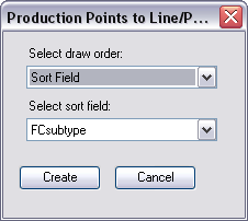 Production Points to Line/Polygon dialog box with Sort Field option