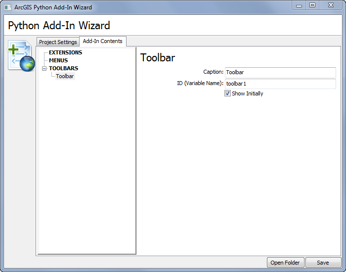 Illustration of creating a toolbar with the add-in wizard