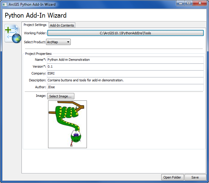 The Python Add-In Wizard