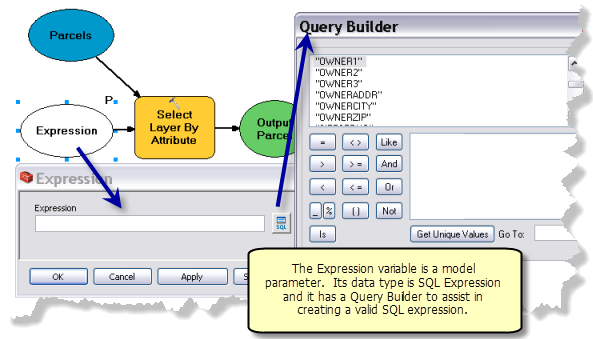 Example model that uses the SQL Expression data type