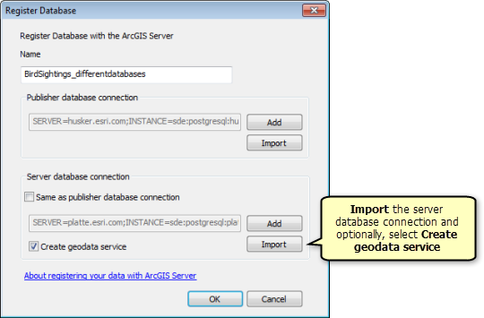 On the Register Database window, import the server database connection and optionally, select Create geodata service