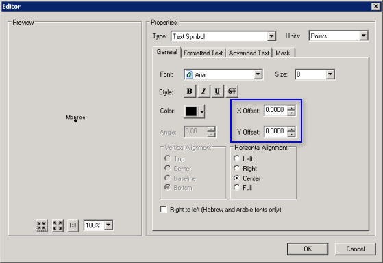 X and Y offset settings in ArcMap