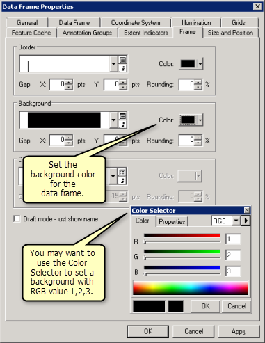 Data frame background color settings in ArcMap