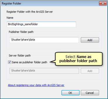 On the Register Folder window, select Same as publisher folder path