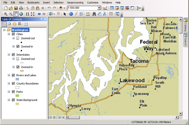 ArcMap document symbolized for multiple scales