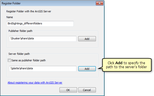 On the Register Folder window, click Add to specify the path to the server's folder