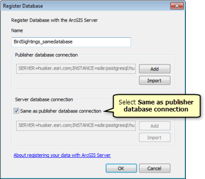 On the Register Database window, select Same as publisher database connection