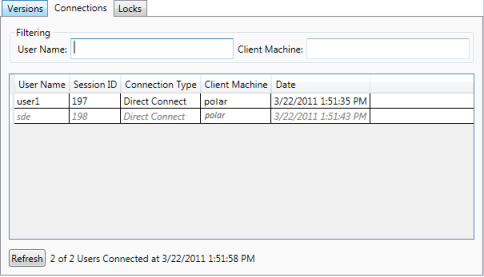 Connections tab of Geodatabase Administration dialog box
