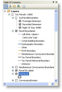 The Table Of Contents window in ArcMap