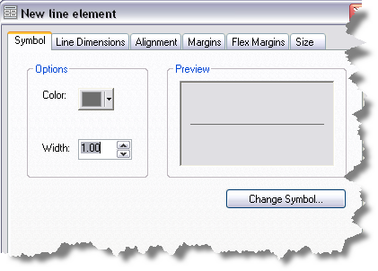 New line element dialog box