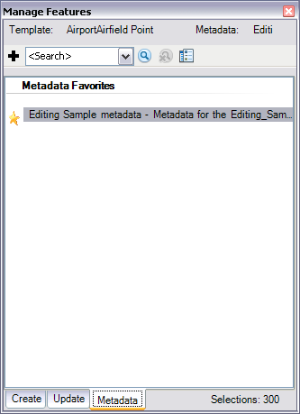 Metadata tab on the Manage Features window