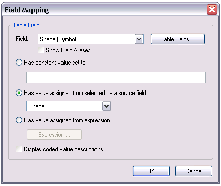 Field Mapping dialog box