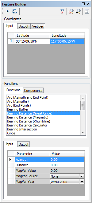 Feature Builder window when the Bearing Distance (Great Circle) function is selected