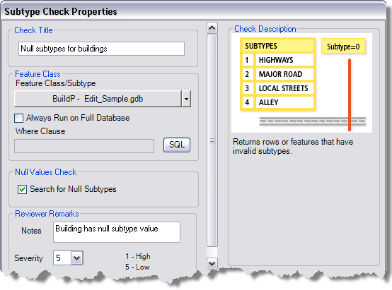 Subtype Check Properties dialog box