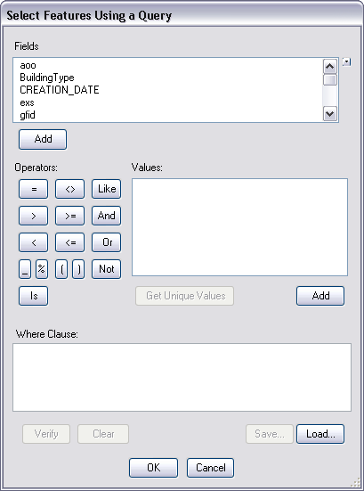 Select Feature Using a Query dialog box