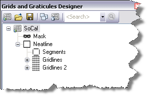 The Grids and Graticules Designer window with a grid template .xml