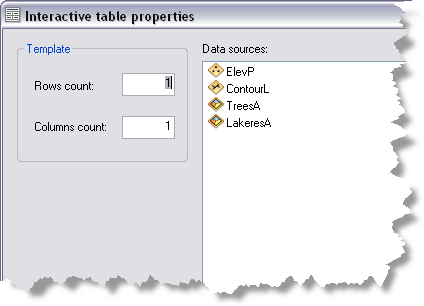 New Table Wizard - Interactive table properties