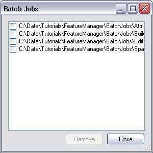 Batch Jobs dialog box