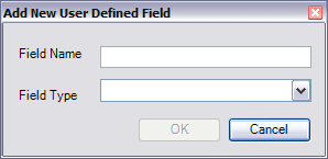 Add New User Defined Field dialog box