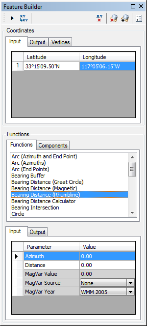 Feature Builder window with the Bearing Distance (Rhumbline) function selected