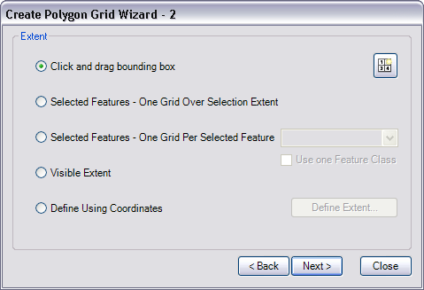 Create Polygon Grid Wizard - 2 dialog box
