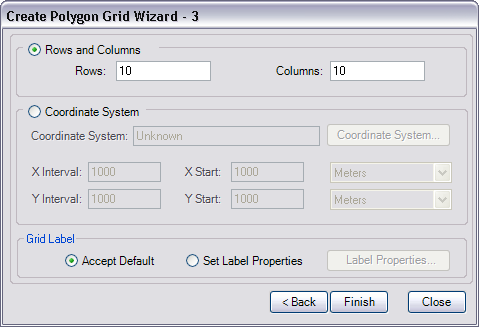 Create Polygon Grid Wizard - 3 dialog box