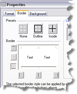 The Properties dialog box displaying the border tab. Vertical and top horizontal lines are deselected.