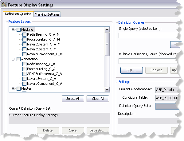 Feature Display Settings dialog box