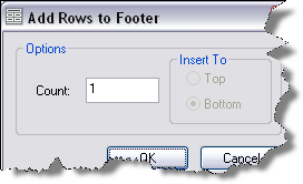 Add Rows to Footer dialog box