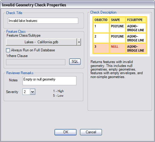 Invalid Geometry Check Properties dialog box