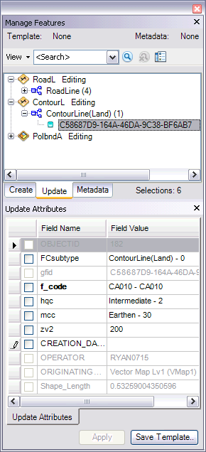Example of the Update tab with field configurations applied