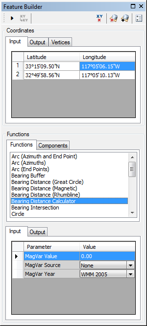 Feature Builder window with the Bearing Distance Calculator function selected