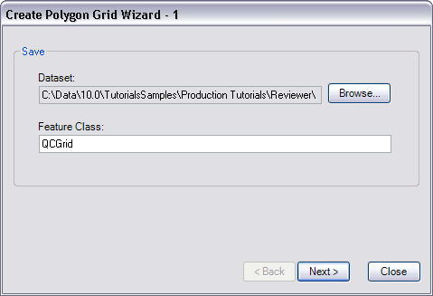 Create Polygon Grid Wizard - 1 dialog box